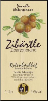 Rotenbachhof Edelobstbrände Zibärtle 44% Vol.-1 Liter Deutschland Schwarzwald Obstbrand