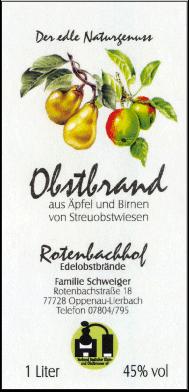 Rotenbachhof Edelobstbrände Obstbrand 45% Vol.-1 Liter Deutschland Schwarzwald Obstbrand