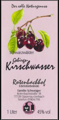 Rotenbachhof Edelobstbrände Kirschwasser 45% Vol.-1 Liter Deutschland Schwarzwald Obstbrand