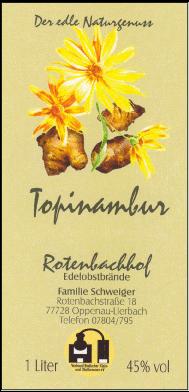Rotenbachhof Edelobstbrände Topinambur 45% Vol.-1 Liter Deutschland Schwarzwald Obstbrand