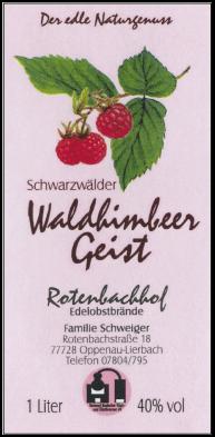 Rotenbachhof Edelobstbrände Waldhimbeergeist 40% Vol.-1 Liter Deutschland Schwarzwald Obstbrand