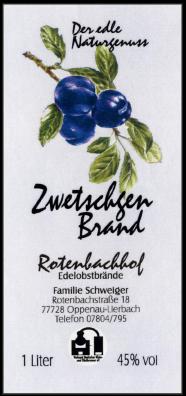 Rotenbachhof Edelobstbrände Zwetschge 45% Vol.-1 Liter Deutschland Schwarzwald Obstbrand