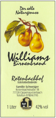 Rotenbachhof Edelobstbrände Williams Birne 42% Vol.-1 Liter Deutschland Schwarzwald Obstbrand