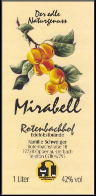 Rotenbachhof Edelobstbrände Mirabell 42 % Vol.-1 Liter Deutschland Schwarzwald Obstbrand