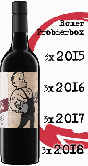 """Mollydooker Boxer """"Vertikale"""" 12 Flaschen, 4 Jahrgänge - je 3 Flaschen 2015, 16, 17 und 18"""