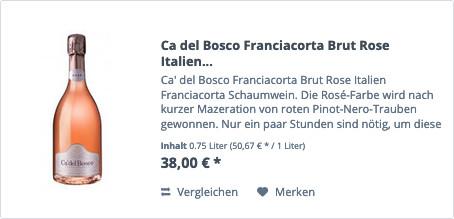 Ca del Bosco Franciacorta Brut Rose Italien Franciacorta Schaumwein